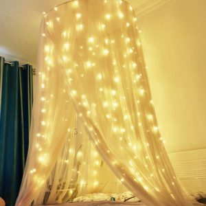 curtain fairy light around bed